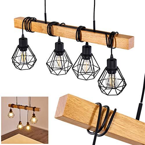 Suspension Barbengo en bois et métal noir, 4 lampes pendantes à hauteur ajustable parfaites pour un salon rétro ou une salle à manger vintage, pour 4 ampoules E27 max. 60 Watt, compatible LED