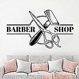Ajcwhml Barber Shop Logo Etiqueta de la Pared decoración del hogar Arte Pegatina Vinilo Dormitorio habitación Cita barbería peluquería Tijeras Peine calcomanía - 54X93CM-54X93CM