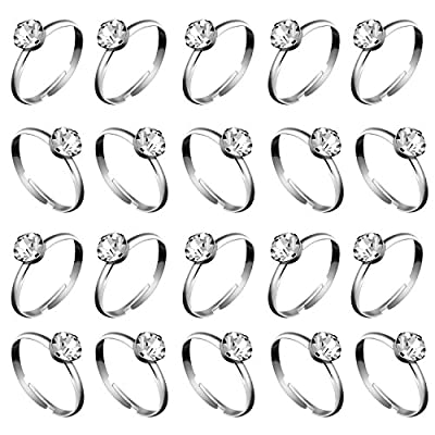 Size of diamond ring–The size of the faux diamond ring is about 0. 75 inch in diameter Adjustable diameter–The diameter of these fake diamond rings is adjustable,You can adjust to the size you want Wide application–These faux engagement rings c...