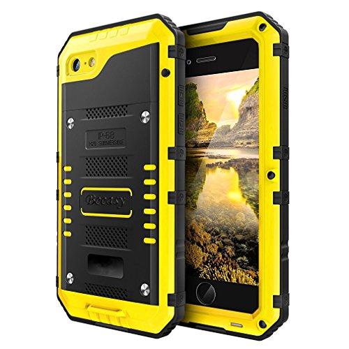 Beeasy Handy Case Kompatibel mit iPhone 7/8,Wasserdicht Handyhülle Outdoor Stoßfest Militärstandard Schutzhülle mit Displayschutz Metall Schutz Hülle Cover Waterproof Handyschutzhülle,Gelb