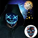 Halloween Scary Mask with LED Gloves Kit Cosplay, LED Costume Mask EL Wire Light Up Mask for Halloween Costume Festival Cosplay,Music Festival Parties