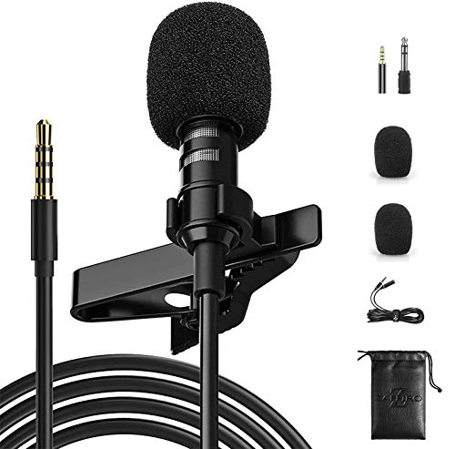 Lavalier a clip kit, zaffiro rumore Canceclling mic con condensatore omnidirezionale per iPhone, iPad, Gopro, DSLR, camcorder, fotocamera, registratore, PC, Android, smartphone