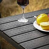 SONGMICS Gartentisch kleiner Tisch mit imitierter Holzmaserung aus Kunststoff - 2