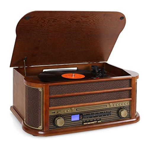 AUNA - Belle Epoque 1908, retrofit, stereo, lettore di dischi, trasmissione a cinghia, altoparlanti...