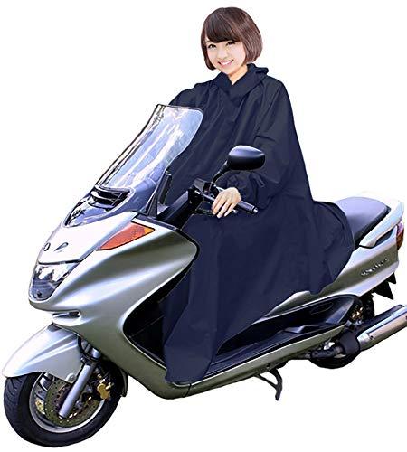 男女兼用 バイク 自転車 スクーター 用 レインコート ポンチョ 防水 フリーサイズ 雨具 雨合羽 カッパ 屋外作業 アウトドア (00.ネイビー)