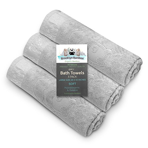 Brooklyn Bamboo Bath Towels - Soft Absorbent Hypoallergenic Odor Free Bamboo Bath Towels - Made with Bamboo & Cotton Blend - Large 27.6' X 55.1' (Grey)