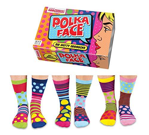 United Oddsocks - Caja De Regalo 6 x Calcetínes Coloridos (Polka Face) Para Mujeres EU 37-42