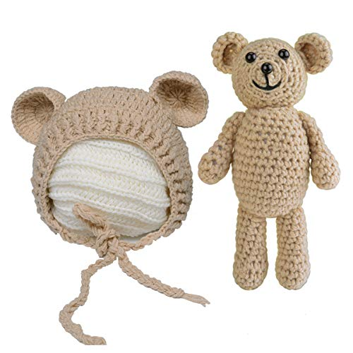 ISOCUTE Newborn Photography Outfits Baby Boy Girl Bear Hat Photo...