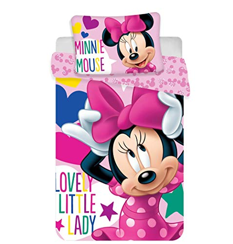 Jerry Fabrics - Set di Biancheria da Letto Disney per Bambini, in Cotone, Multicolore, Dimensioni 40 x 60 + 100 x 135 cm
