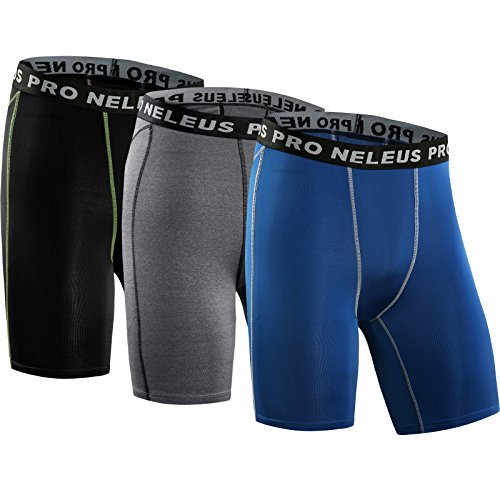 Neleus Men's 3 Pack Compression Short Running Base Layer Leggings,47,Black,Grey,Blue,UK Large,EUR Tag XL