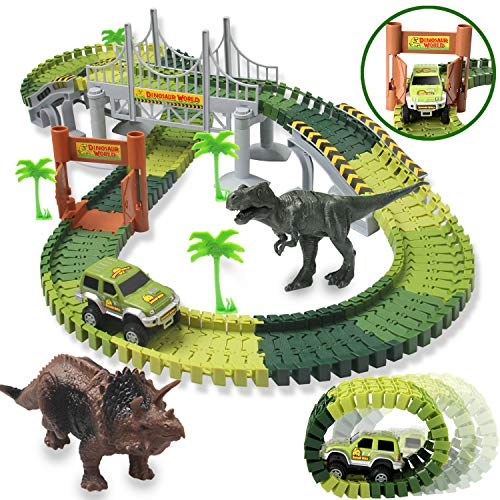 HOMOFY Dinosaur Toys 142pcs Slot Car Race Flexible Tracks 2 Dinosaurs,Create A Road Toys for 3 4 5 6 Year Old Boys Girls Toddlers Birthday Gifts