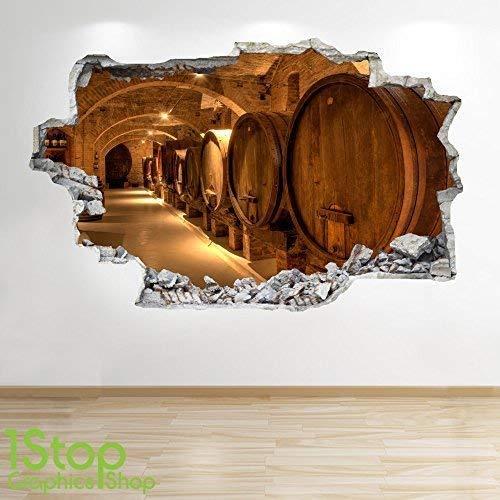 1Stop Graphics Shop Vino CANTINETTA Adesivo da Parete 3D Look - Salotto Camera da Letto Vino Birra...