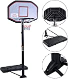 KLB Sport Pro Court Height Adjustable Portable Basketball Hoop System with 43 Inch Backboard (Black/Orange)