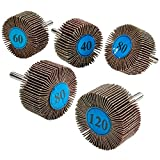 Katzco 5 Pieces 2 X 1 Inch Flap Wheels Set – 4 Different Sanding Sizes – 1/4 Shank Fits All Drills - 40 60 80 and 120 Grits