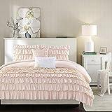Intelligent Design ID10-1381 Waterfall Comforter Reversible Solid Lush Ruffled Stripe Shabby Chic Ultra Soft Microfiber Down Alternative Pleated Decor Pillow Bedding Set, Full/Queen, Blush, 5 Piece