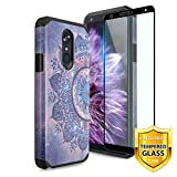 TJS Phone Case for LG K40/K12 Plus/X4/Solo LTE/Harmony 3/Xpression Plus 2, with [Full Coverage Tempered Glass Screen Protector] Dual Layer Hybrid Shockproof Impact Rugged Armor Cover (Mandala)