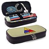 Estuche de cuero WU4FAAR, con logotipo de la segunda división blindada del ejército con cremallera, bolsa de papelería con cremallera