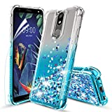 Tmacker LG K40 Case,LG Solo LTE/K12 Plus/LG Xpression Plus 2 (AT&T)/X4 2019/LMX420 Phone Case w/HD Screen Protector,TPU Shockproof Glitter Quicksand Protective Phone Cover for Girls Women-Teal