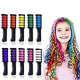 Kalolary Peine de Tiza Para el Pelo, 10 Colores Lavables Tinte para Cabello, Color de pelo Temporal...