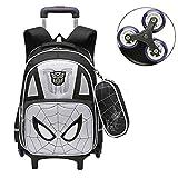 LINLIN Spiderman Carretilla Bolsas con Ruedas Carry en Las Maletas de Equipaje de Vacaciones Maleta para el niño de los niños, Regalos para Niños Niñas Edad 3,Grey