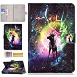 UGOcase 9.5-10.5 Inch Tablet Universal Case, Stand Folio Slim Wallet Case Cover for iPad 9.7, Samsung Galaxy Tab, LG, RCA, HP, Dragon Touch, ASUS, iRulu, F i r e 10, and More 10' Tab, Deer Galaxy