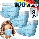 ECD Germany 100 Stück Mundschutz Maske Einweg Gesichtsmaske für Kinder Blau mit Motiv 3-lagig Schutz atmungsaktiv Mundschutzmaske mit Ohrschlaufen, Nasenbügel Mund-Nasen-Schutz Schutzmaske Einwegmaske
