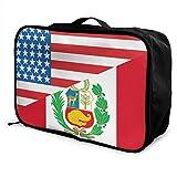 Bolsa de viaje, mitad de EE. UU, Mitad de la bandera de Perú, equipaje de mano, impermeable, de moda, bolsa de viaje, maletas ligeras