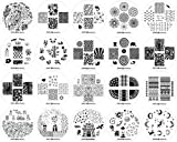 Winstonia Nail Art Stamping Plate 20 pcs Bundle Set Manicure Decoration Templates - Water-marbling, Floral, Galaxy, Fantasy, Lace, Pandas and more