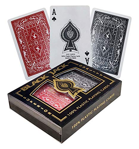 The Ace Card Company Premium Plastic Bridge Playing Cards with Case (2 Decks) - Made in India
