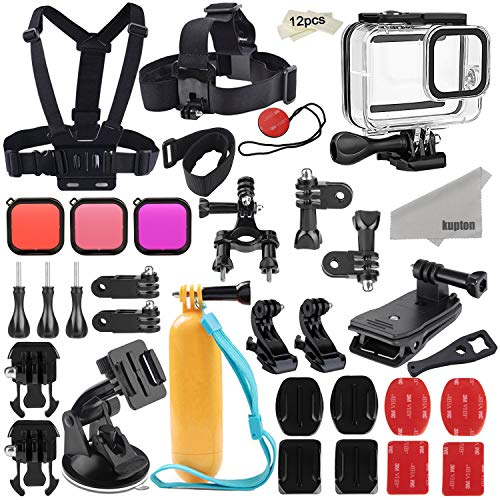 Kupton Kit Accessori per GoPro Hero 8 Set di Accessori per Action Camera, Custodia Impermeabile + Filtri + Tracolla Pettorale+Supporto per Bicicletta+Impugnatura Galleggiante