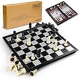 Gibot 3 en 1 Jeu de Plateau d'échecs, 31.5CM x 31.5CM Échiquier...