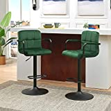 Duhome Set of 2 Adjustable Swivel Bar Stool Chairs Counter Stools, Breakfast Chairs with Arms Green