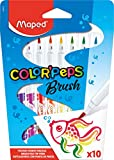 Maped Color'Peps Brush Tip Ultrawashable Markers, Assorted Colors, Pack of 10 (848010)