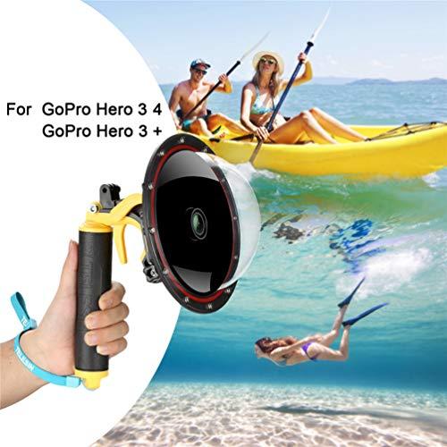 FEIMUOSI GoPro Dome Port Hero 4 Hero 3 3+, Custodia Subacquea con Pistola a Scatto e Impugnatura Galleggiante Fotografia paraluce Custodia Impermeabile per Accessorio GoPro