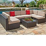 SUNCROWN Outdoor Patio Furniture 7-Piece Wicker Sofa Set, Washable Seat Cushions with YKK Zippers and Modern Glass Coffee Table&Clips(Beige Cushion)