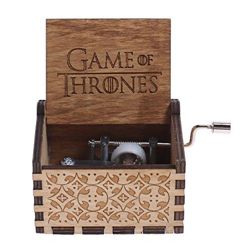 NELNISSA Caja de música grabada de madera con texto en inglés GAME OF THRONES para manualidades o regalos de Navidad para niños