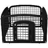 AmazonBasics 4-Panel Plastic Pet Pen Fence Enclosure With Gate - 35 x 35 x 24 Inches, Black