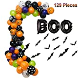zorpia Halloween Balloons Garland Kit - 129 Pack Latex Balloons Boo Foil Confetti Balloon 3D PVC Bat Decoration Set for Halloween Party Decorations Supplies, Halloween Party Favors