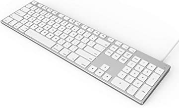 USB Wired Keyboard for Apple Mac, Aluminum Full Size Computer Keyboard with Numeric..