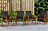 Amazonia Bahamas 4-Piece Outdoor Dining Sling Armchair Set | Eucalyptus Wood | Ideal for Patio and Indoors
