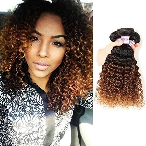RACILY 1B/#30 Ombre Brazilian Kinky Curly Hair 3 Bundles, 10A Remy Dark Blonde Curly Weave Human Hair Extensions 100g, 100% Unprocessed Brazilian Virgin Hair Color Brown (12'14'16')