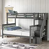 Merax Solid Wood Bunk Bed Frame No Box Spring Needed with Guardrails, Ladder and Storage Stairs for Kids and Teens Platform, Twin Over Full, Gray