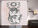 Thermal Insulated Blackout Window Curtain [ Occult Decor,Art Image of Naked Girl under Sun Sublime Fairy of Nature Cosmos Nymph Deity,Pink Black ] for Living Room Bedroom Dorm Room Classroom Kitchen C