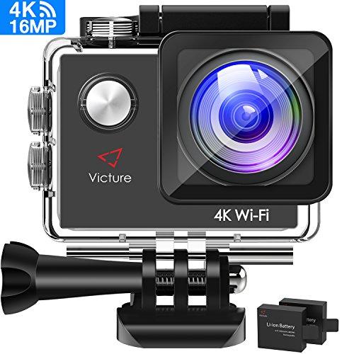 Victure 4K Action Cam Wi-Fi 16MP Ultra FHD Impermeabile 30M Immersione Sott'Acqua Camera con Schermo 2 Pollici 170 Gradi Ampia Vista Grandangolare/20 Accessori all'Interno
