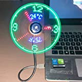2019 New USB Clock Fan with Real Time Clock and Temperature Display Function,Silver,1 Year Warranty (Temperature and Clock)