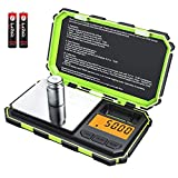 Digital Mini Scale, 200g /0.01g Pocket Scale, 50g calibration weight, Electronic Smart Scale, LCD Backlit Display, 6 Units, Auto Off, Tare, Stainless Steel(Green)
