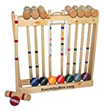 Amish-Crafted Deluxe 8-Player Croquet Game Set, Maple Hardwood (Eight 32' Handles)