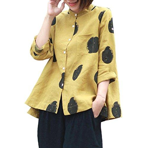 Blusas Mujer, ASHOP Casual Talla Extra Bolsillo Sudaderas Ropa en Oferta Camisetas Manga Larga Tops de Fiesta Abrigos Invierno de Mujer otoño (XL, Amarillo)
