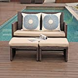 OC Orange-Casual Outdoor Loveseat 3 Piece Patio Furniture Set Outdoor Conversation Set All-Weather Wicker Love Seat with Ottoman/Side Table, Brown Rattan, Beige Cushion
