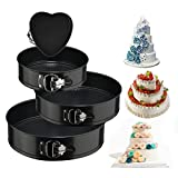 Springform Cake Pan 4 Pieces (4'/7'/9'/10') 1 Heart and 3 Round ,Leakproof Nonstick Bakeware Cheesecake Pan with Removable Bottom